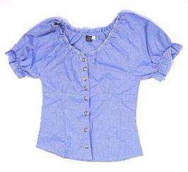 Bluse mit Carmen-Ausschnitt blau/weiss