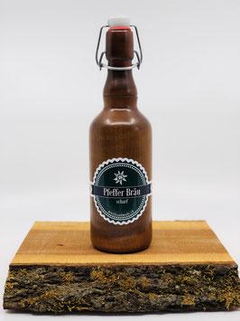 Pfeffermühle in Bierflaschenform aus Ahornholz gebeizt, handgedrechselt aus eigener Werkstatt