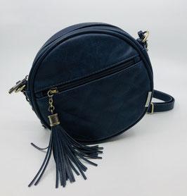 Handtasche rund mit Quaste dunkelblau