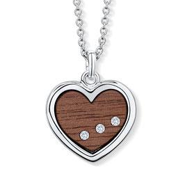 Collier mit Herzanhänger aus Holz