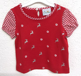 Mädchenshirt rot mit Edelweiss und Hirschen