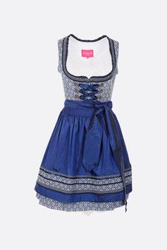 Dirndl blau mit Ornamentmuster, Rocklänge 60 cm