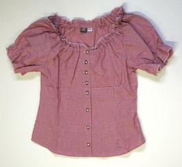 Bluse mit Carmen-Ausschnitt rot/weiss