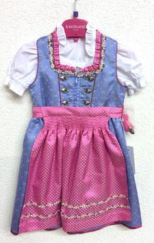 Kinderdirndl hellblau mit rosa Schürze
