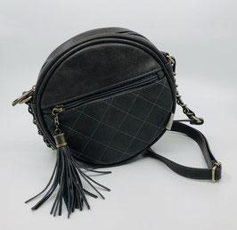 Handtasche rund mit Quaste grau