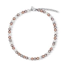Perlenkette crème/braun