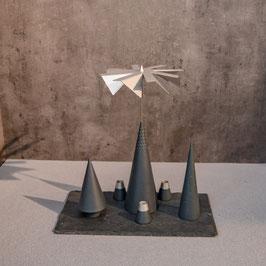 Lichtspiele Set anthrazit P2, B3, B4, kleine Schieferplatte, 3 Kerzenhalter
