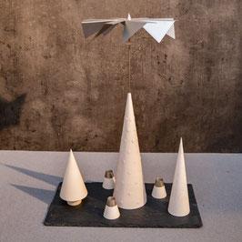 Lichtspiele Set weiß P3, B3, B4, kleine Schieferplatte, 3 Kerzenhalter