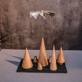 Lichtspiele Set Eiche gekalkt P2, B1, B3, B4, kleine Schieferplatte, 3 Kerzenhalter
