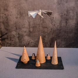 Lichtspiele Set Eiche gekalkt P2, B3, B4, kleine Schieferplatte, 3 Kerzenhalter