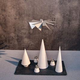 Lichtspiele Set weiß P2, B3, B4, kleine Schieferplatte, 3 Kerzenhalter
