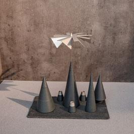 Lichtspiele Set anthrazit P2, B1, B3, B4, kleine Schieferplatte, 3 Kerzenhalter
