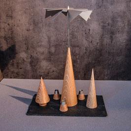 Lichtspiele Set Eiche gekalkt P3, B3, B4, kleine Schieferplatte, 3 Kerzenhalter