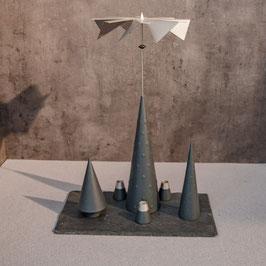 Lichtspiele Set anthrazit P3, B3, B4, kleine Schieferplatte, 3 Kerzenhalter