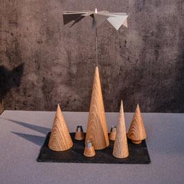 Lichtspiele Set Eiche gekalkt P3, B1, B3, B4, kleine Schieferplatte, 3 Kerzenhalter