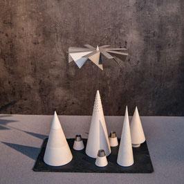 Lichtspiele Set weiß P2, B1, B3, B4, kleine Schieferplatte, 3 Kerzenhalter