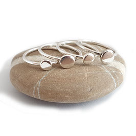 Zilveren Pebble / Kiezel Stapelring