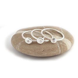 Zilveren Pebble / Kiezel Stapelring met Zirkonia