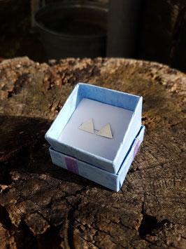 Zilveren Oorbellen Driehoek gematteerd