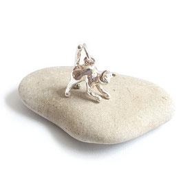 Zilveren Springende Katten bedel  / hanger