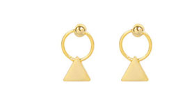 tiny triangle hoops gold