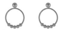 Beaded hoops  silver
