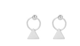 tiny triangle hoops silver