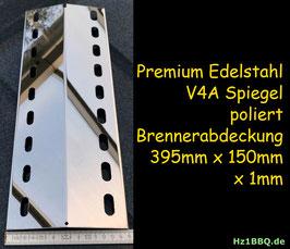 HZ1BBQ Premium Spiegel V4A 395 mm x 150 mm x 1mm Edelstahl Flammenverteiler