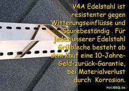 4 Stück 395mm x 150mm x 1mm  V4A Spiegel poliert Edelstahl Flammenverteiler