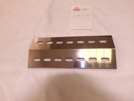 340 mm x 140 mm x 1 mm V4A Spiegel poliert Edelstahl Flammenverteiler