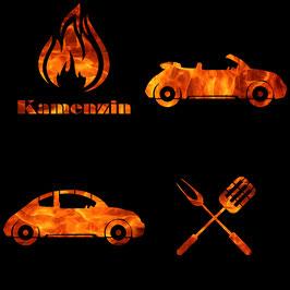 Kundenbeispiel – Entwurf für Feuerkorb aus Edelstahl – Beetle Cabrio mit 4 Seiten