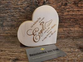 Ich wünsche dir einen Engel | Herz aus Zirbe | eingravierter Spruch | Holzherz | Geschenk