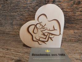Elternglück | Herz aus Holz | eingraviertes Motiv | Holzherz | Geschenk