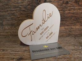 Familie Wo das Leben beginnt...| Herz aus Zirbe | eingravierter Spruch | Holzherz | Geschenk