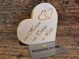 Zwei Herzen Viele Träume Eine Liebe | Herz aus Zirbe | eingravierter Spruch | Holzherz | Geschenk