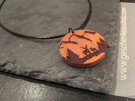 Waldtiere | Halskette aus Holz | eingraviertes Muster | Holzkette | Geschenk | Naturschmuck