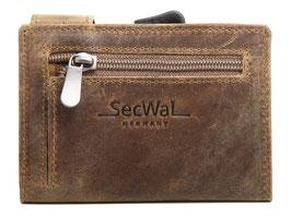 SecWal Kreditkartenetui mit Reisverschluss-Münzfach - Antikbraun
