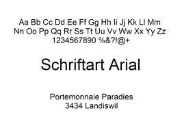 Lasergravur Name - Schriftart Arial