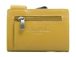 SecWal Kreditkartenetui mit Reisverschluss-Münzfach - Gelb