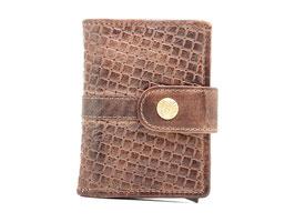 Cardprotector mit Rv-Münzfach und Aussenlasche - Braun