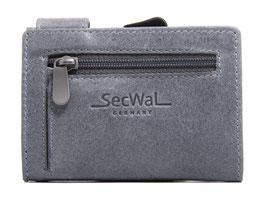SecWal Kreditkartenetui Vintage Grau - Reisverschluss-Münzfach