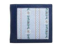 Portemonnaie mit Edelweiss Stoff - Querformat Blau