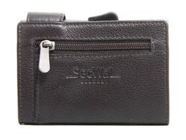 SecWal Kreditkartenetui mit Reisverschluss-Münzfach - Dunkelbraun