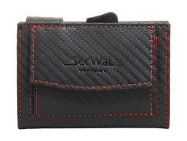 SecWal Kreditkartenetui - Carbon Schwarz mit Roter Naht