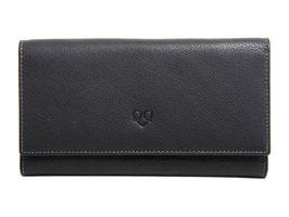 Damenportemonnaie Nr.3803 Schwarz genarbtes Leder