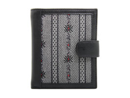 Portemonnaie mit Edelweiss Stoff - Schwarz
