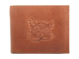 EMME Leder - Portemonnaie mit Katzenkopf Prägung
