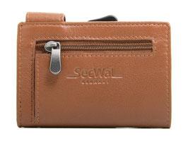 SecWal Kreditkartenetui mit Reisverschluss-Münzfach - Orange