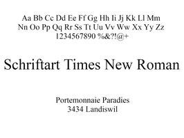 Lasergravur Name - Schriftart Times New Roman