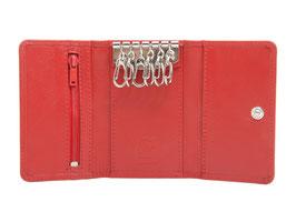 Schlüsseletui mit 6 Mini Karabiner - Rot